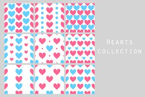 Pink and blue simple hearts patterns