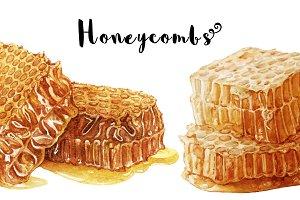 Watercolor honeycombs