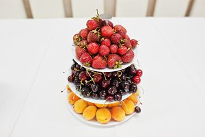 fruits pyramid on wedding reception