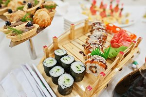 food of sushi on wedding reception