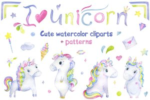 Cute unicorns watercolor set