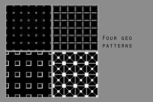 Black and white geo patterns set