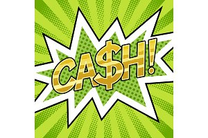 Cash word comic book pop art vector illustration