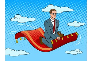Businessman on magic carpet pop art vector