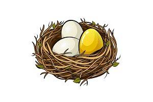 Nest with golden egg pop art vector illustration