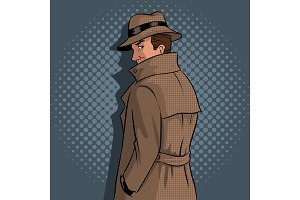 Spy in raincoat and hat pop art vector
