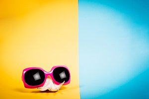 Seashell and sunglasses, summer