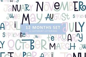 12 MONTHS LETTERING SET | for 2019