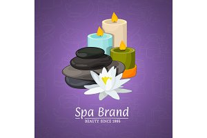 Vector illustration with cartoon beauty and spa elements and place for text on gradient background