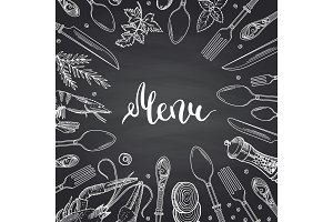 Vector menu background on black chalkboard illustration with hand drawn tableware and food elements, spices with place for text in center