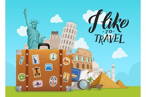 Vector concept illustration with worldwide sights dropping from suitcase on sky background with lettering