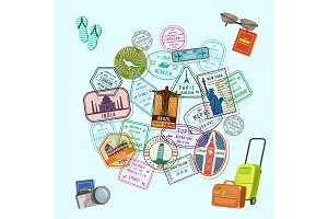 Vector concept illustration with post marks and immigration stamps all over the world and cartoon baggage, camera and flip flops
