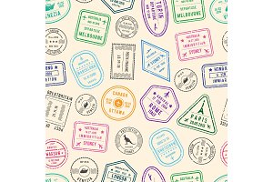 Vector pattern or background illustration with post and immigration stamps from different countries