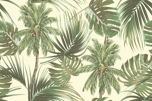 Tropical palm trees,leaves pattern