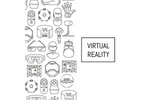 Vector background with linear style virtual reality elements and place for text