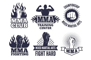 Design template of sport martial labels for mma fighters