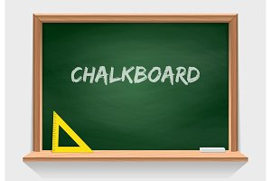Wooden school chalkboard with green background texture. Classroom tools. Vector isolate on white