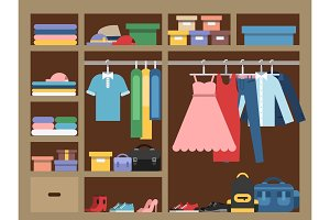 Large wardrobe with different clothes. Vector illustration in flat style