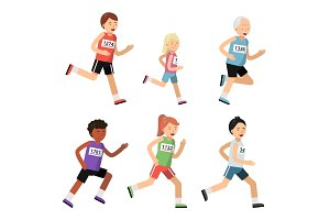 Jogging marathon. Sport people of different ages