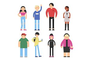 Vector stylized characters of hipster peoples male and female