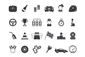 Monochrome pictures set of sport symbols for formula 1 and racing cars