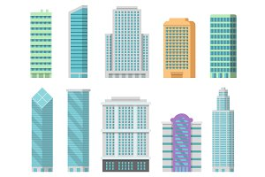 Vector office buildings isolate on white. Illustrations of modern skyscrapers