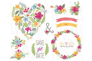 Tropical Floral Heart shape Elements