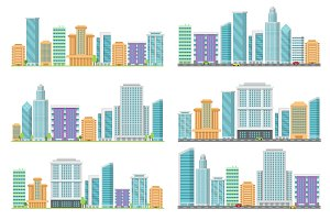 Horizontal seamless urban landscapes with various buildings