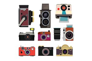 Retro photo cameras. Illustrations in cartoon style isolate