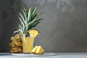 Pineapple fresh juice in glass