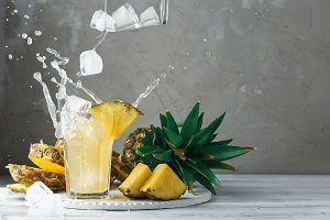 Pineapple and ice with splash