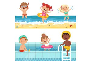 Kids playing in water. Vector characters isolate