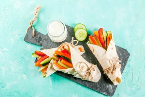 Yogurt and vegetable wraps