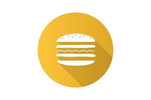 Burger cutaway flat design long shadow glyph icon