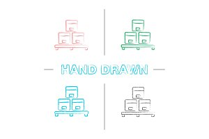 Cardboard boxes on pallet hand drawn icons set