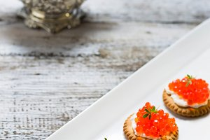 Tartlets with red salmon caviar