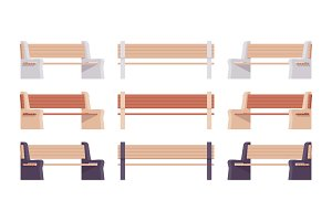 Brown colored street bench set