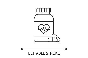 Pills bottle with heart linear icon