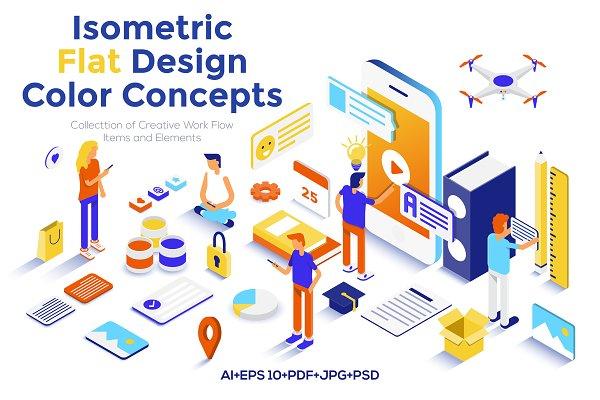 Flat design isometric illustrations