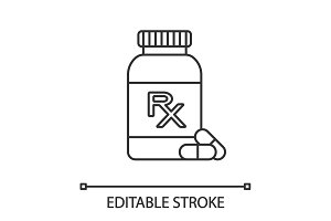 RX pill bottle linear icon