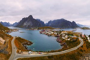 Mount Olstind and Reine fishing village on Lofoten islands