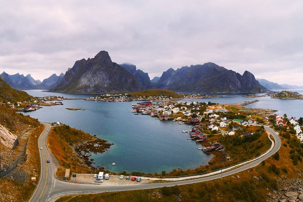 Nature Stock Photos: Nick Fox  - Mount Olstind and Reine fishing village on Lofoten islands