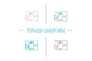 Folded brochure mockup hand drawn icons set