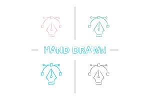Fountain pen nib hand drawn icons set