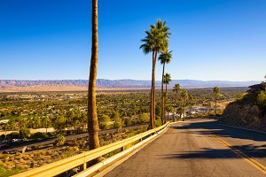 Scenic road leading to Palm Springs in California