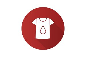 Printing on t-shirt flat design long shadow glyph icon