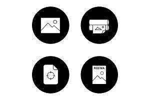 Printing glyph icons set