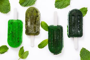 Green frozen popsicles