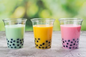 Homemade bubble tea with tapioca pearls