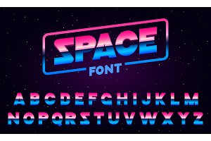 80 s purple neon retro font. Futuristic metal chrome letters. Bright Alphabet on dark background. Light Symbols Sign for night show in club. concept of galaxy space. Set of types. Outlined version.